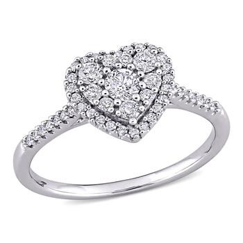 Trang sức Amour Vàng trắng 10K 1/2 CT TW Kim cương Composite Hình trái tim Halo Nhẫn đính hôn chính hãng sale giá rẻ Hà nội TPHCM