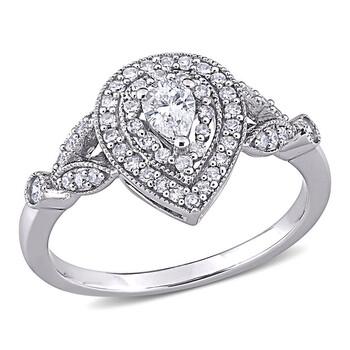 Trang sức Amour Vàng trắng 10K 1/2 CT TW Kim cương Pear Shape Nhẫn đính hôn chính hãng sale giảm giá sỉ rẻ nhất ở Hà nội TPHCM