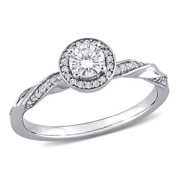 trang sức Amour Vàng trắng 10K 1/2 CT TW Kim cương Twist Halo Nhẫn chính hãng sale giá rẻ tại Hà nội TPHCM