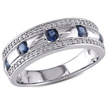 Trang sức Amour Vàng trắng 10K 1/4 CT TDW Kim cương và Sapphire Anniversary Band Nhẫn chính hãng sale giá rẻ Hà nội TPHCM