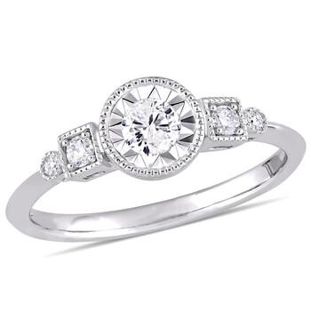 Trang sức Amour Vàng trắng 10K 1/4 CT TDW Kim cương Nhẫn chính hãng sale giá rẻ Hà nội TPHCM