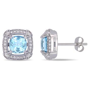 Trang sức Amour Vàng trắng 10K 1/5 CT Kim cương và 2 1/2 CT Sky Blue Topaz & White Sapphire Stud Bông tai (khuyên tai