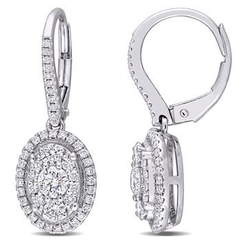 Trang sức Amour Vàng trắng 10K 1 CT TDW Kim cương Composite Oval Shape Halo Leverback Bông tai (khuyên tai
