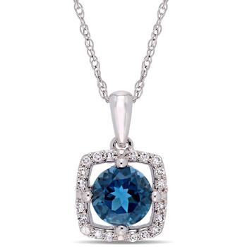 Trang sức Amour Vàng trắng 10K 1 CT TGW London Blue Topaz và 1/10 CT TW Kim cương Square Halo Pendant với Chain chính hãng sale giá rẻ Hà nội TPHCM