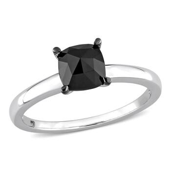 Trang sức Amour Vàng trắng 10K 1 CT TW Cushion Kim cương đen Solitaire Nhẫn đính hôn chính hãng sale giá rẻ Hà nội TPHCM