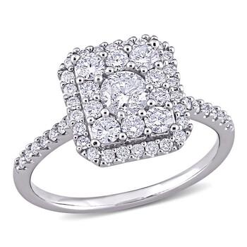 Trang sức Amour Vàng trắng 10K 1 CT TW Kim cương Composite Square Shape Halo Nhẫn đính hôn chính hãng sale giá rẻ Hà nội TPHCM