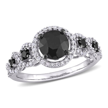 amour 10k white gold 2 ct tw black and white diamond engagement ring jms007684