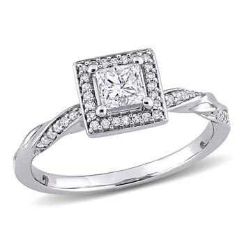 Trang sức Amour Vàng trắng 10K 3/5 CT TW Princess và Round-Cut Kim cương Square Halo Nhẫn chính hãng sale giá rẻ Hà nội TPHCM