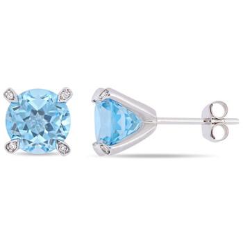 Trang sức Amour Vàng trắng 10K 4 3/4 CT TGW Sky Blue Topaz và 0.024 CT TDW Kim cương Accent Martini Stud Bông tai (khuyên tai