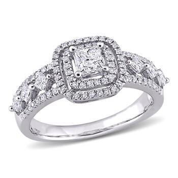 Trang sức Amour Vàng trắng 10K 4/5 CT TW Princess và Round-Cut Kim cương Halo Nhẫn đính hôn chính hãng sale giá rẻ Hà nội TPHCM