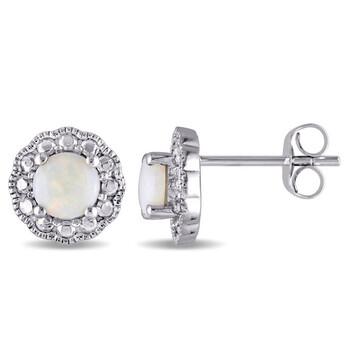 Trang sức Amour Vàng trắng 10K 5/8 CT TGW Opal Flower Birthstone Stud Bông tai (khuyên tai