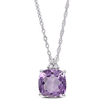 amour 10k white gold cushion cut amethyst pendant and chain with diamonds jms002742