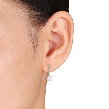 Trang sức Amour Vàng 10K 1 1/3 CT TGW Opal và 0.05 CT TDW Kim cương Accent Milgrain Leverback Bông tai (khuyên tai