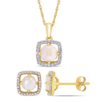 Trang sức Amour Vàng 10K 1 1/4 CT TGW Opal và 1/6 CT TW Kim cương Square Halo Bông tai (khuyên tai