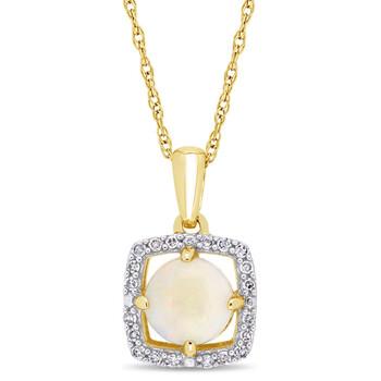 Trang sức Amour Vàng 10K 1/10 Ct Kim cương & 5/8 Ct Opal Halo Pendant với Chain chính hãng sale giá rẻ Hà nội TPHCM