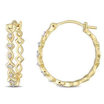 Trang sức Amour Vàng 10K 1/10 CT TDW Kim cương Hoop Bông tai (khuyên tai