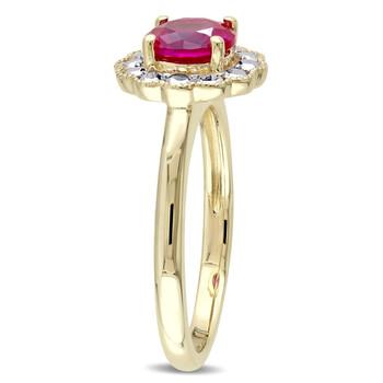 Trang sức Amour Vàng 10K 1 3/8 CT TGW Created Ruby Floral Nhẫn chính hãng sale giá rẻ Hà nội TPHCM