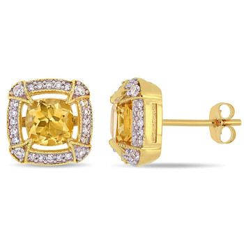 amour 10k yellow gold 1 7 8 ct tgw citrine white sapphire and 1 5 ct tw diamond halo stud earrings jms007050