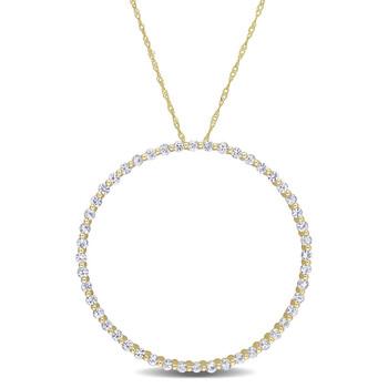 Trang sức Amour Vàng 10K 2 3/8 CT TGW White Sapphire Circle of Life Pendant với Chain chính hãng sale giá rẻ Hà nội TPHCM
