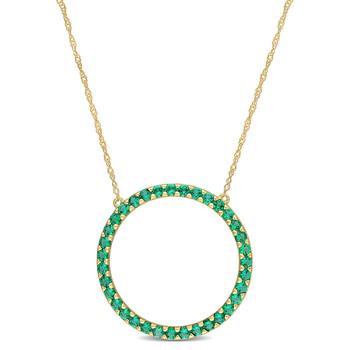 Trang sức Amour Vàng 10K 7/8 CT TGW Created Emerald Circle Pendant với Chain chính hãng sale giá rẻ Hà nội TPHCM