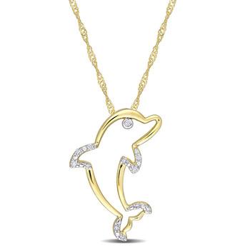 Trang sức Amour Vàng 10K Kim cương Accent Dolphin Pendant với Chain chính hãng sale giảm giá sỉ rẻ nhất ở Hà nội TPHCM