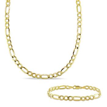 Trang sức Amour Vàng 10K Nam Figaro Dây chuyền (vòng cổ) và Vòng đeo tay Set (7 mm) chính hãng sale giá rẻ Hà nội TPHCM