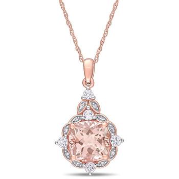 Trang sức Amour Vàng hồng 14K 0.03 Ct Kim cương & 2 1/3 Ct Morganite & White Sapphire Halo Pendant với Chain chính hãng sale giá rẻ Hà nội TPHCM