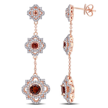 Trang sức Amour Vàng hồng 14K 1 3/5CT TGW Garnet và 7/8 CT TW Kim cương Quaterfoil Triple Drop Bông tai (khuyên tai