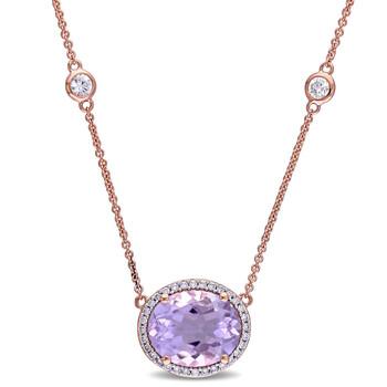 Trang sức Amour Vàng hồng 14K 1/6 CT Kim cương TW và 5 CT TGW Pink Amethyst White Sapphire Dây chuyền (vòng cổ) với Chain 17 inches chính hãng sale giá rẻ Hà nội TPHCM