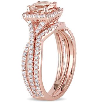 Trang sức Amour Vàng hồng 14K 1 CT TGW Morganite và 3/4 CT TDW Kim cương Bridal Set Nhẫn chính hãng sale giá rẻ Hà nội TPHCM