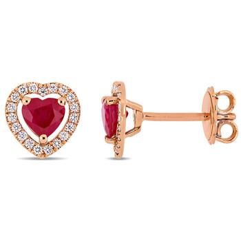 Trang sức Amour Vàng hồng 14K 1 CT TGW Ruby và 1/5 CT TW Kim cương Heart Stud Bông tai (khuyên tai