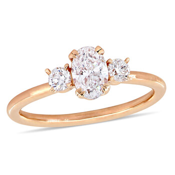 Trang sức Amour Vàng hồng 14K 1 CT TW Oval và Round-Cut Kim cương Three-Stone Nhẫn đính hôn chính hãng sale giá rẻ Hà nội TPHCM