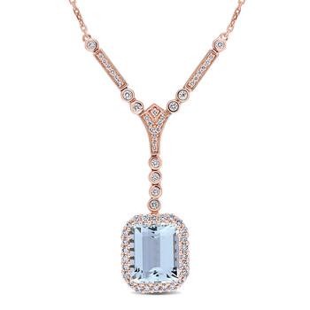 Trang sức Amour Vàng hồng 14K 5 2/5 CT TGW Aquamarine và 3/4 CT TW Kim cương Drop Dây chuyền (vòng cổ) chính hãng sale giá rẻ Hà nội TPHCM
