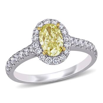 Trang sức Amour 14k Two-Tone Gold 1 5/8 CT TW Oval Cut Fancy Yellow và Kim cương trắng Halo Nhẫn (GIA CERTIFIED) chính hãng sale giá rẻ Hà nội TPHCM