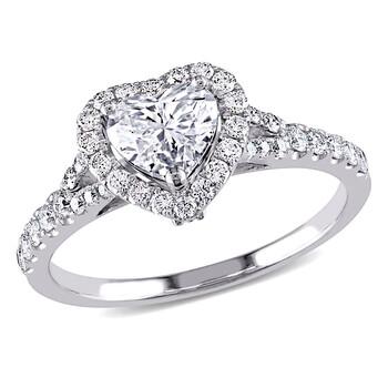 Trang sức Amour Vàng trắng 14K 1 1/10 CT TW Certified Kim cương Heart Halo Nhẫn đính hôn chính hãng sale giá rẻ Hà nội TPHCM