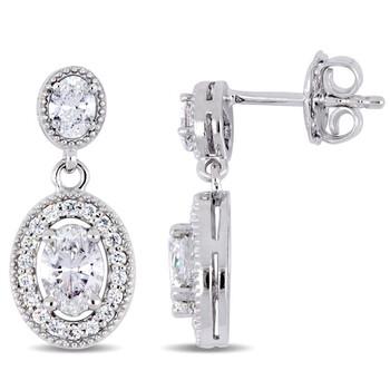 Trang sức Amour Vàng trắng 14K 1 1/2 CT TDW Kim cương Halo Drop Bông tai (khuyên tai, hoa tai) chính hãng sale giảm giá sỉ rẻ nhất ở Hà nội TPHCM