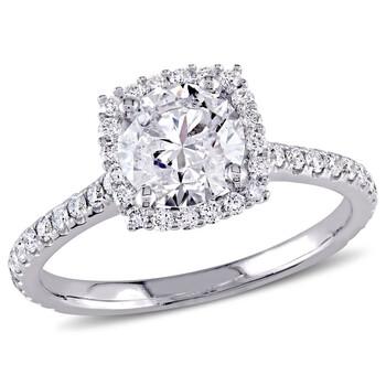Trang sức Amour Vàng trắng 14K 1 1/2 CT TW Certified Kim cương Halo Nhẫn đính hôn chính hãng sale giá rẻ Hà nội TPHCM