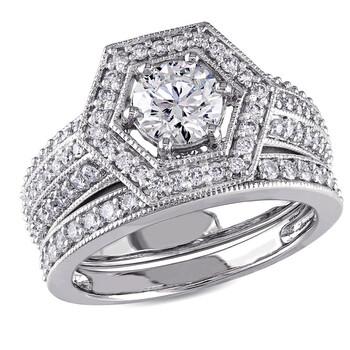 Trang sức Amour Vàng trắng 14K 1 1/2 CT TW Kim cương Geometric Bridal Set chính hãng sale giá rẻ Hà nội TPHCM