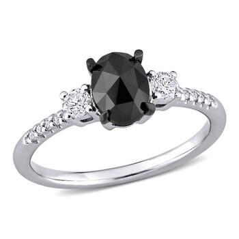 Trang sức Amour Vàng trắng 14K 1 1/5 CT TW Oval và Round-Cut Đen và Kim cương trắng 3-Stone Nhẫn đính hôn chính hãng sale giá rẻ Hà nội TPHCM
