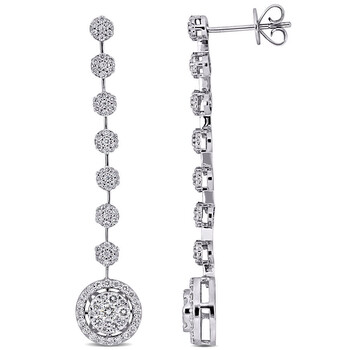 amour 14k white gold 1 1 8 ct tdw diamond drop earrings jms007358