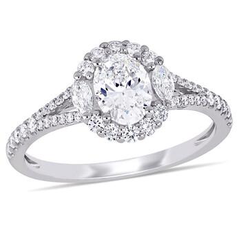 Trang sức Amour Vàng trắng 14K 1 1/8 CT TW Kim cương Halo Nhẫn đính hôn chính hãng sale giá rẻ Hà nội TPHCM