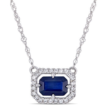 amour 14k white gold 1 10 ct tdw diamond and 3 4 ct tgw blue sapphire halo necklace with chain jms006414