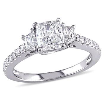 Trang sức Amour Vàng trắng 14K 1 2/5 CT TW Certified Kim cương 3-Stone Nhẫn đính hôn chính hãng sale giá rẻ Hà nội TPHCM