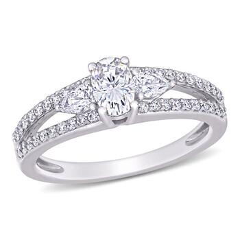 Trang sức Amour Vàng trắng 14K 1/2 CT Pear và Round Kim cương và 1/2 CT TGW Created White Moissanite Nhẫn đính hôn chính hãng sale giá rẻ Hà nội TPHCM