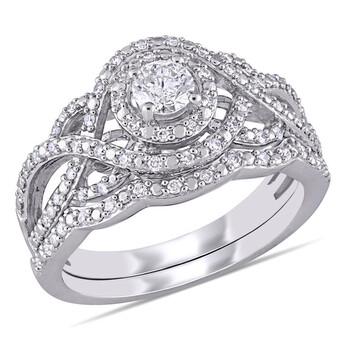 trang sức Amour Vàng trắng 14K 1/2 CT TW Kim cương Double Halo Twist Bridal Set chính hãng sale giá rẻ tại Hà nội TPHCM