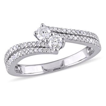 Trang sức Amour Vàng trắng 14K 1/2 CT TW Kim cương Double Row Bypass Nhẫn chính hãng sale giảm giá sỉ rẻ nhất ở Hà nội TPHCM