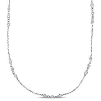 Trang sức Amour Vàng trắng 14K 1/2 CT TW Kim cương Station Dây chuyền (vòng cổ) chính hãng sale giá rẻ Hà nội TPHCM