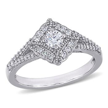 Trang sức Amour Vàng trắng 14K 1/2 CT TW Kim cương Vintage Nhẫn đính hôn chính hãng sale giá rẻ Hà nội TPHCM