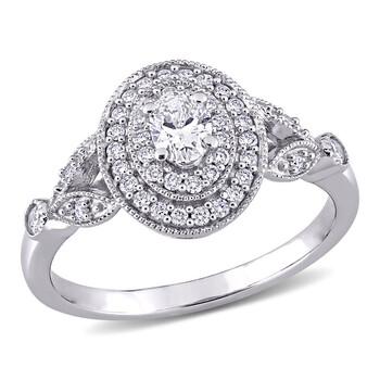Trang sức Amour Vàng trắng 14K 1/2 CT TW Oval và Round Kim cương Double Halo Nhẫn chính hãng sale giá rẻ Hà nội TPHCM