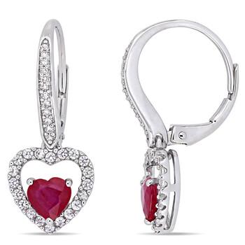 Trang sức Amour Vàng trắng 14K 1 3/5 CT TGW Ruby White Sapphire và 1/10 CT TW Kim cương Bông tai (khuyên tai